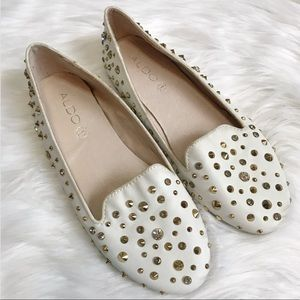 Aldo Cream Stud Loafers Rhinestone Gold Studs  8